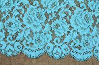 ткань кружево solstiss кружево смесовый цветы голубая Италия