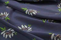 ткань крепдешин с цветами крепдешин шелк цветы синяя Италия
