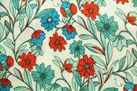 ткань штапель с цветочками штапель вискоза цветы белая Италия