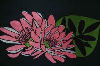 ткань микадо Парош микадо полиэстер цветы черная Италия