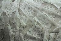 ткань белое кружево (шантильи) кружево вискоза цветы белая Италия