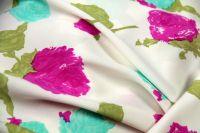 ткань шелк GANDINI шармюз шелк цветы белая Италия