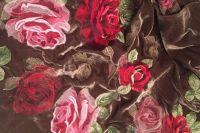 ткань бархат вышитый бархат шелк цветы бежевая Италия