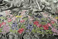 ткань бархат вышитый бархат вискоза цветы зеленая Италия