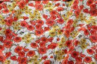 ткань шелк с маками крепдешин шелк цветы белая Италия