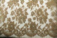 ткань золотое кружево кружево смесовый цветы бежевая Италия