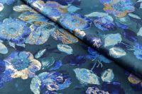 ткань жаккард с цветами жаккард полиэстер цветы синяя Италия