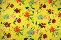 ткань сатин с цветочным рисунком сатин хлопок цветы желтая Италия
