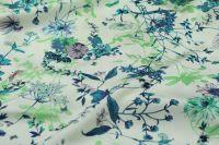 ткань плотный шелк с цветами костюмно-плательная шелк цветы белая Италия