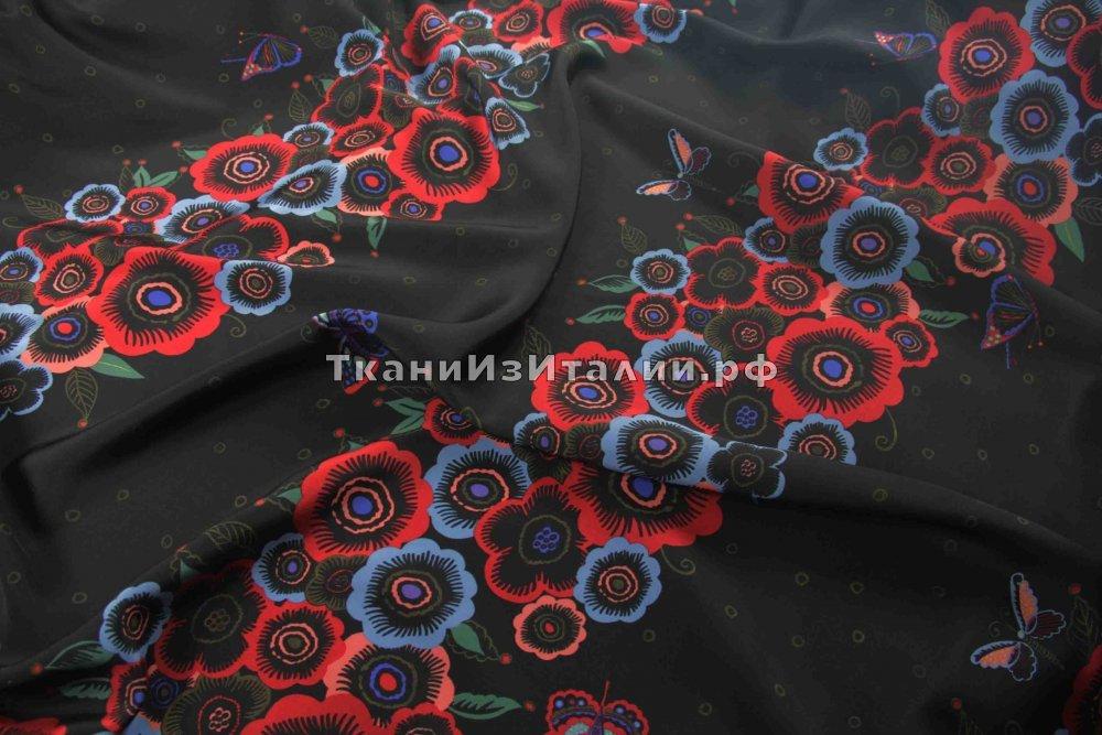 ткань крепдешин цветы полосами Валентино крепдешин шелк цветы черная Италия