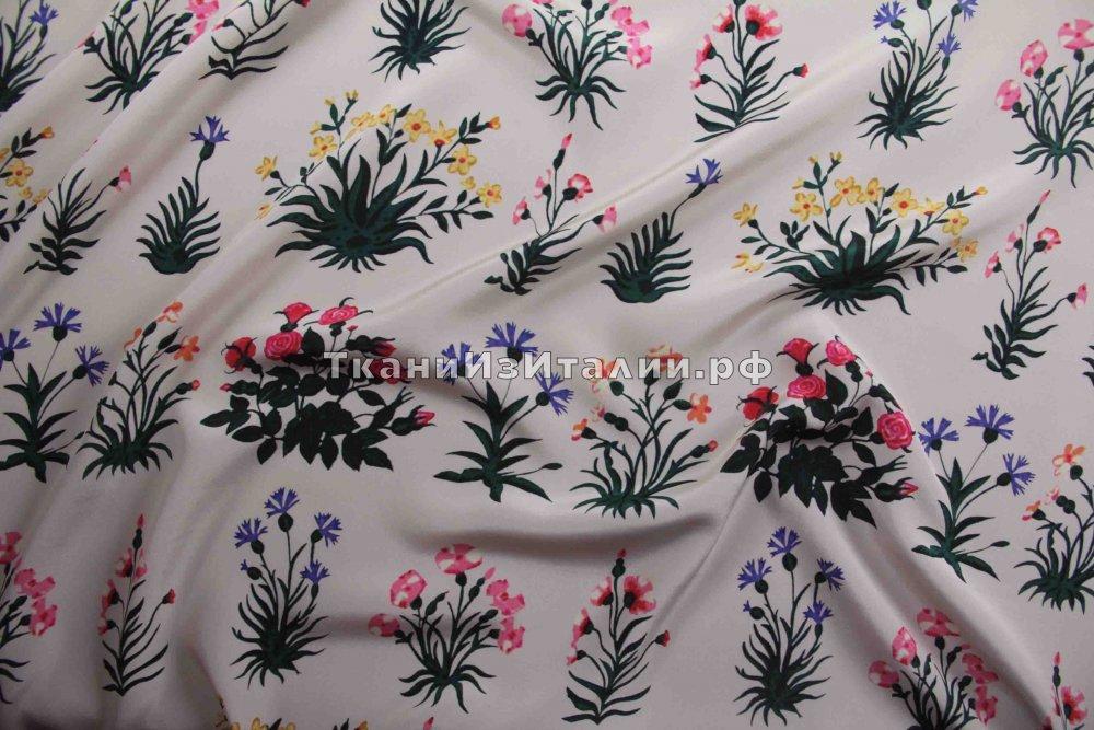 ткань крепдешин с букетиками Валентино крепдешин шелк цветы белая Италия