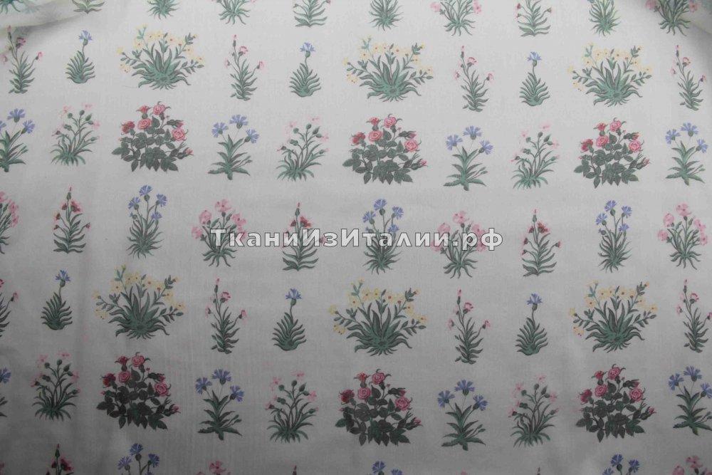ткань шифон с букетиками Валентино шифон шелк цветы белая Италия