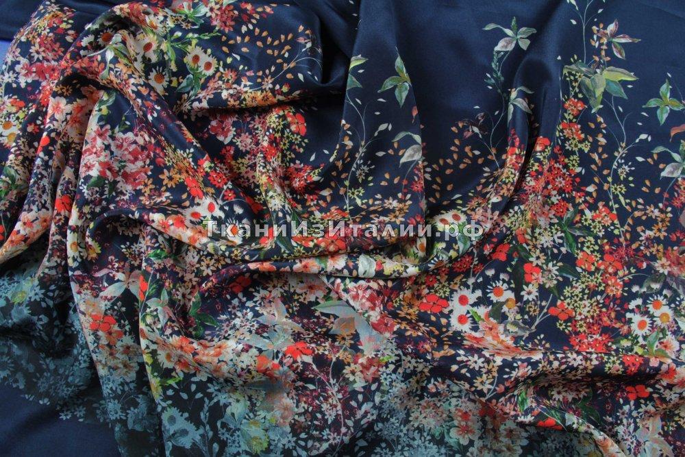 ткань шелк купонами крепдешин шелк цветы синяя Италия