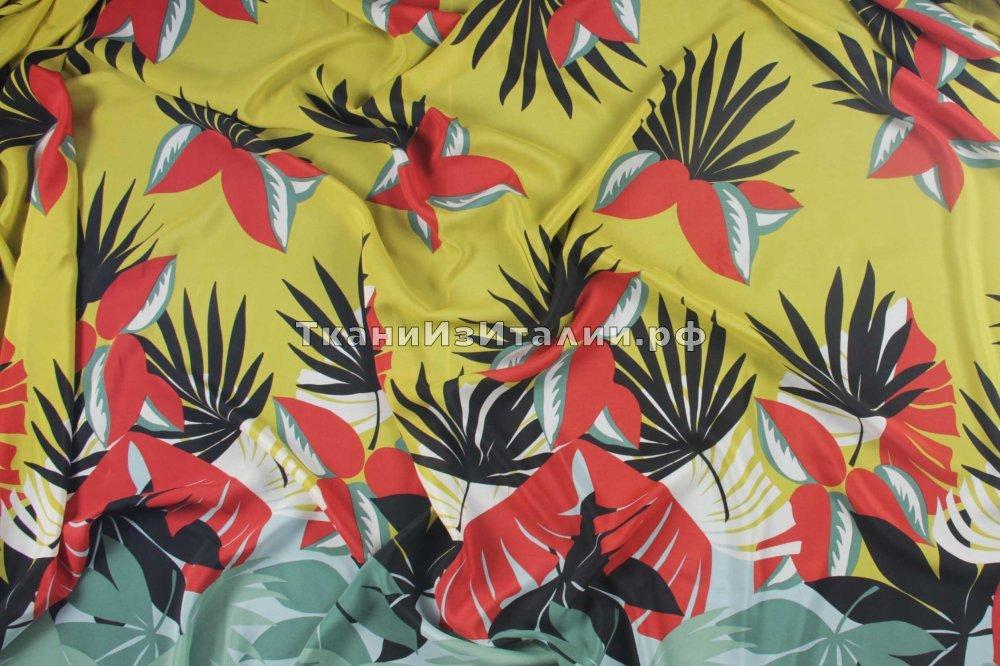 ткань крепдешин Марни крепдешин шелк цветы желтая Италия