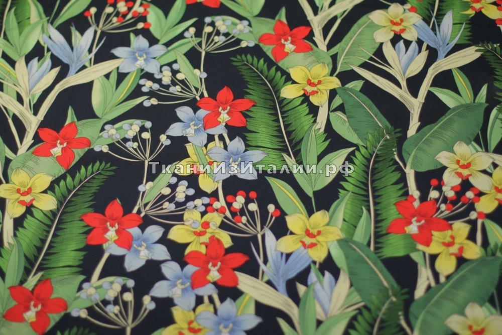 ткань легкий поплин поплин хлопок цветы синяя Италия