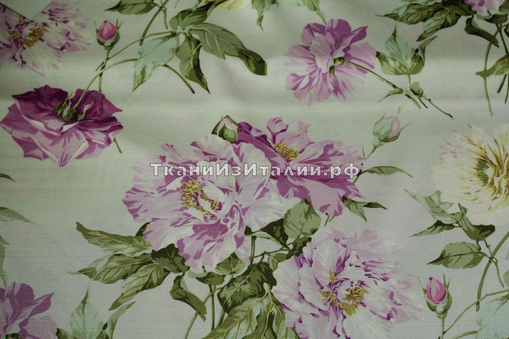 ткань шерсть с шелком RATTI   цветы зеленая Италия