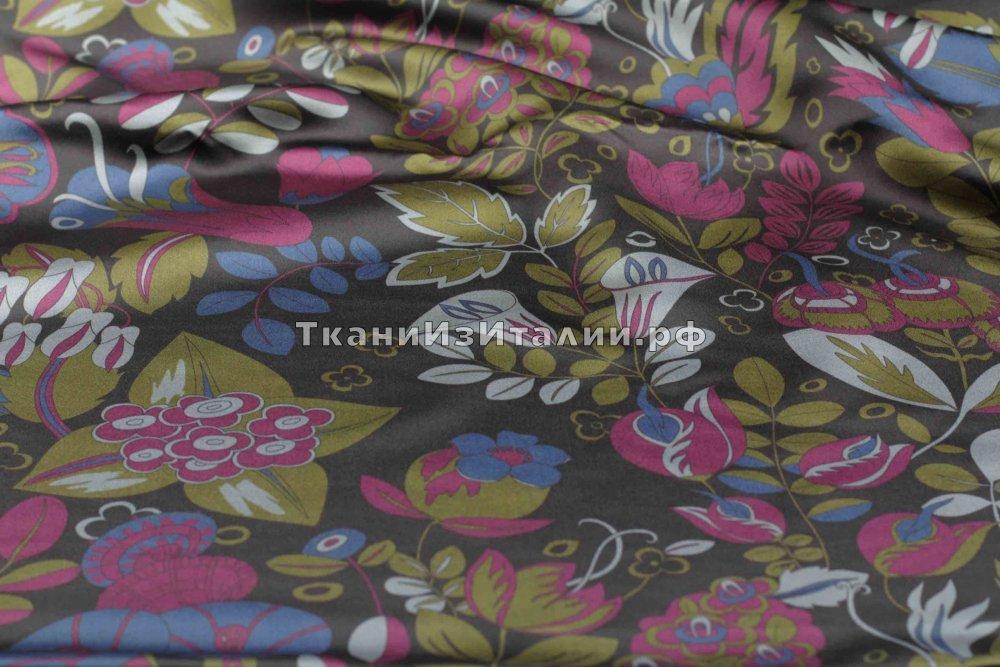 ткань атлас плотный Марни атлас шелк цветы разноцветная Италия